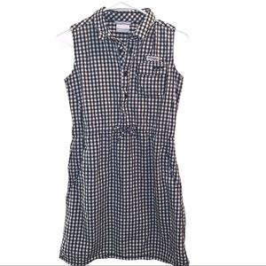 Columbia Navy & White Checkered PFG Shirt Dress